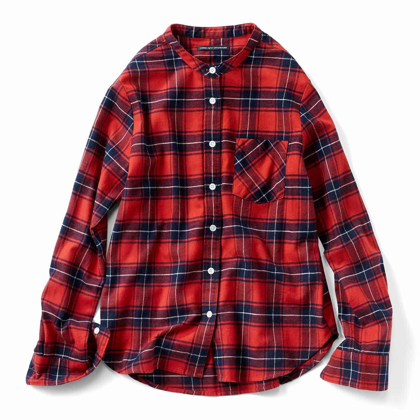タータンチェックスタンドカラーシャツ〈赤〉