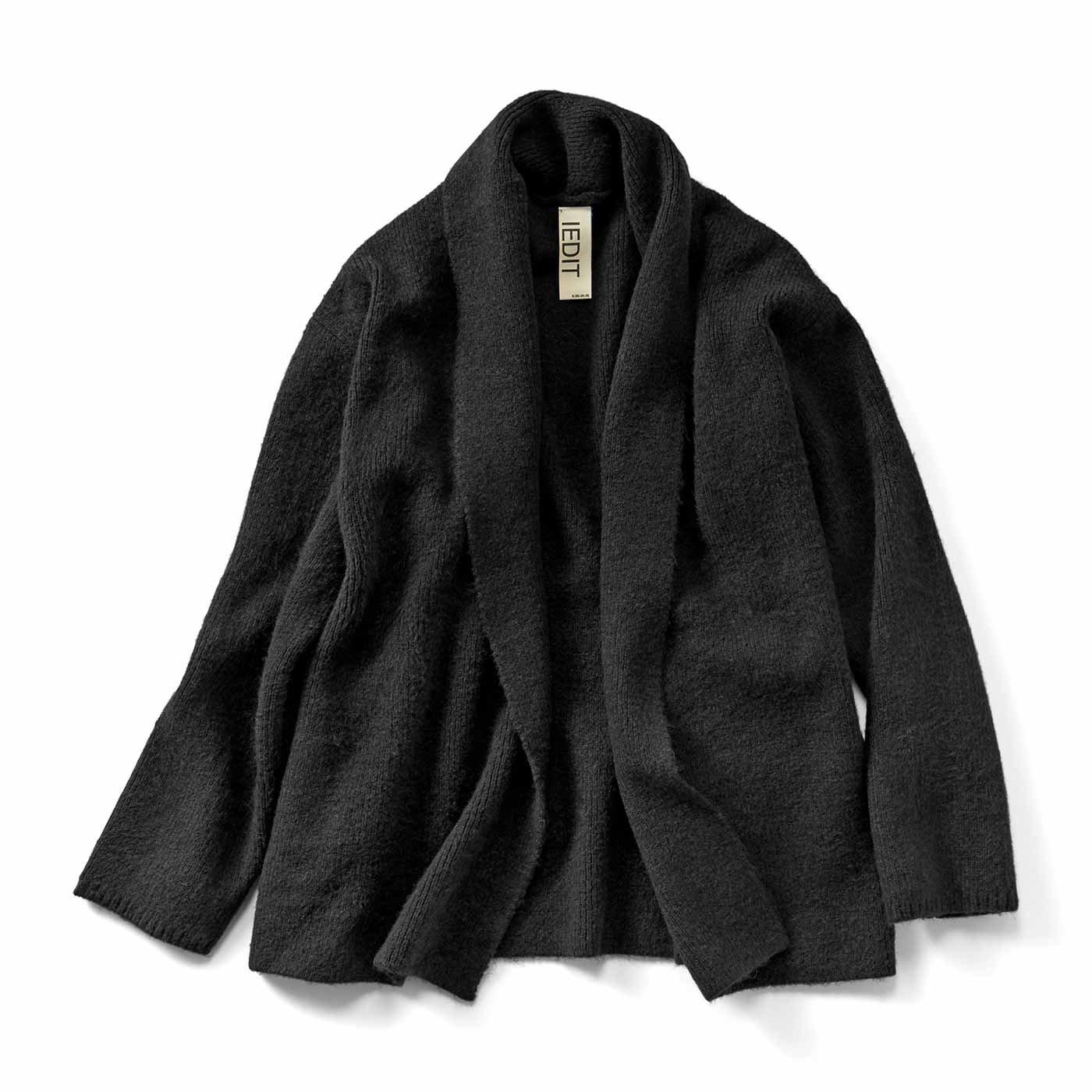 IEDIT[イディット] ショールカラーのやわらかニットジャケット〈ブラック〉