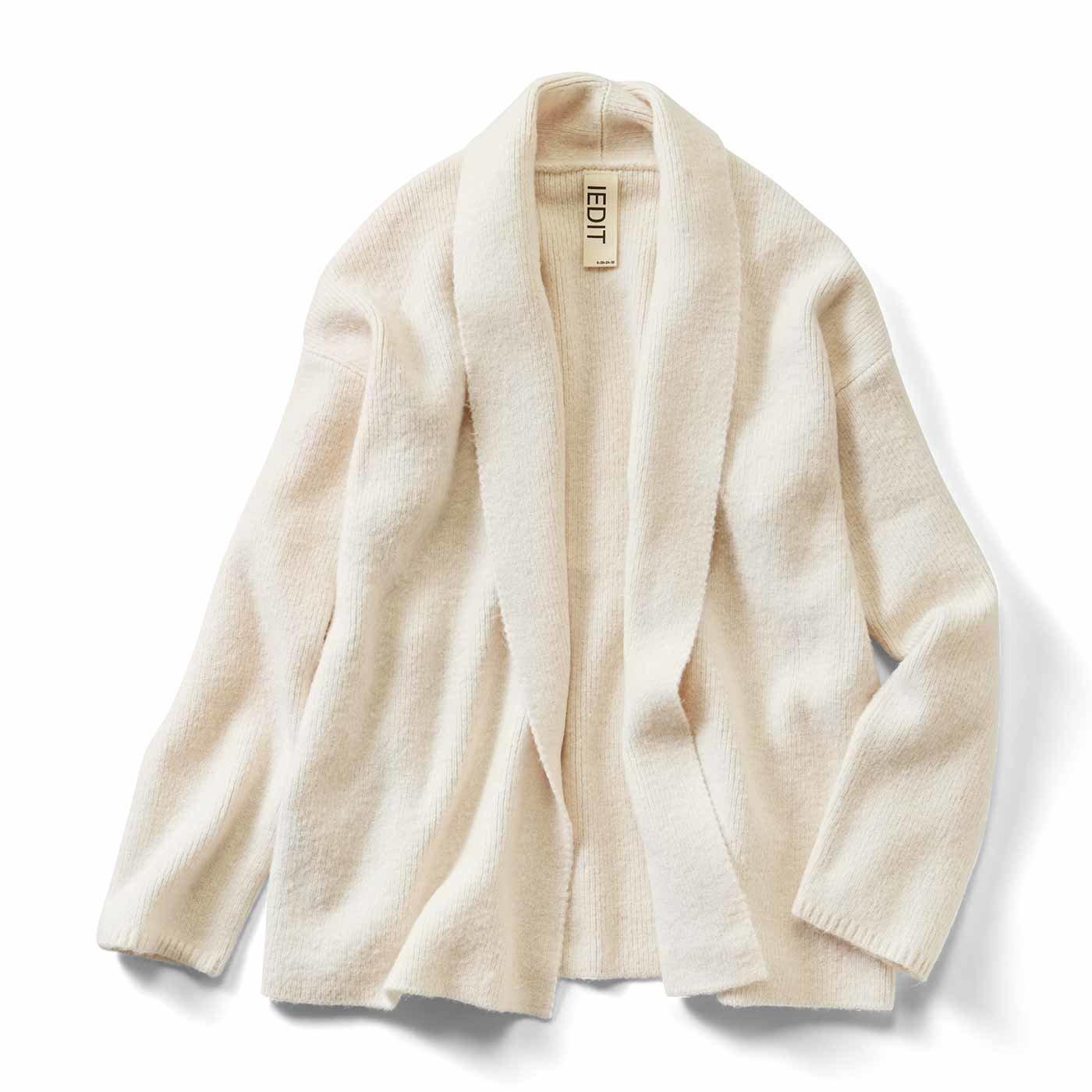 【3~10日でお届け】IEDIT[イディット] ショールカラーのやわらかニットジャケット〈アイボリー〉