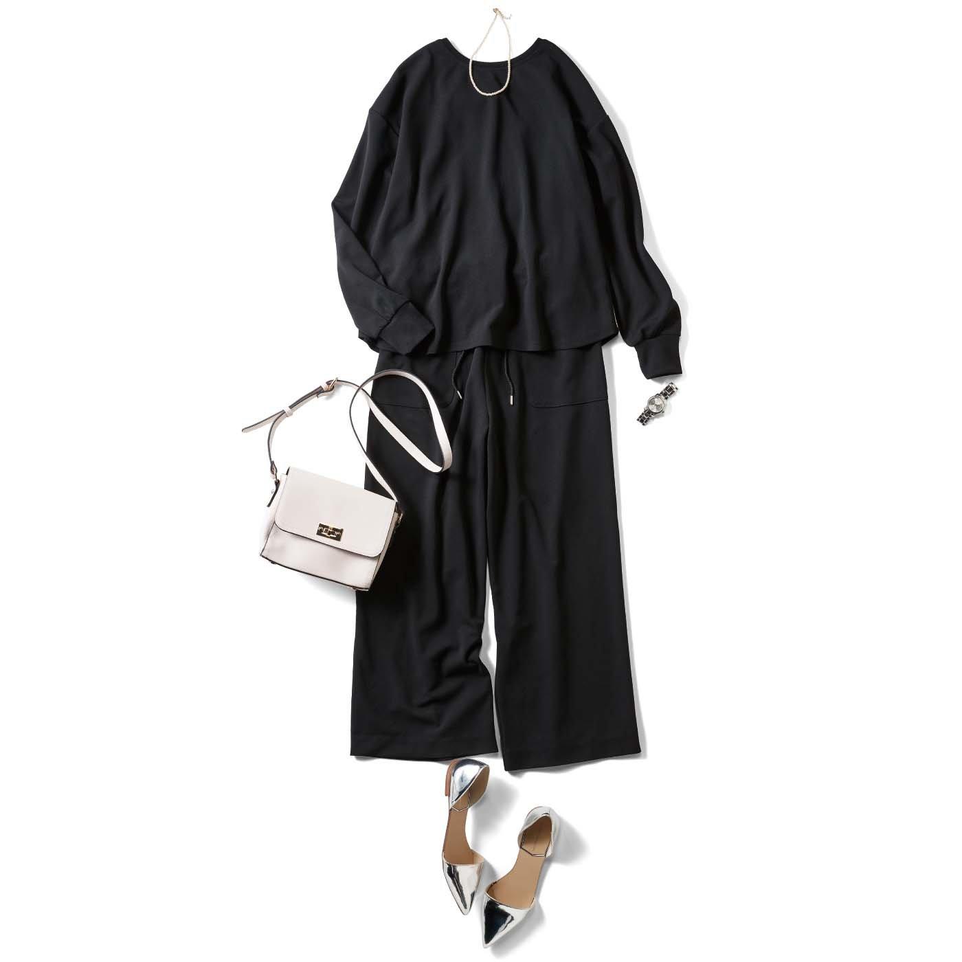 【3~10日でお届け】IEDIT[イディット] 2-WAYで着られてオンオフ着まわし自在 抗菌防臭カットソーセットアップ〈ブラック〉