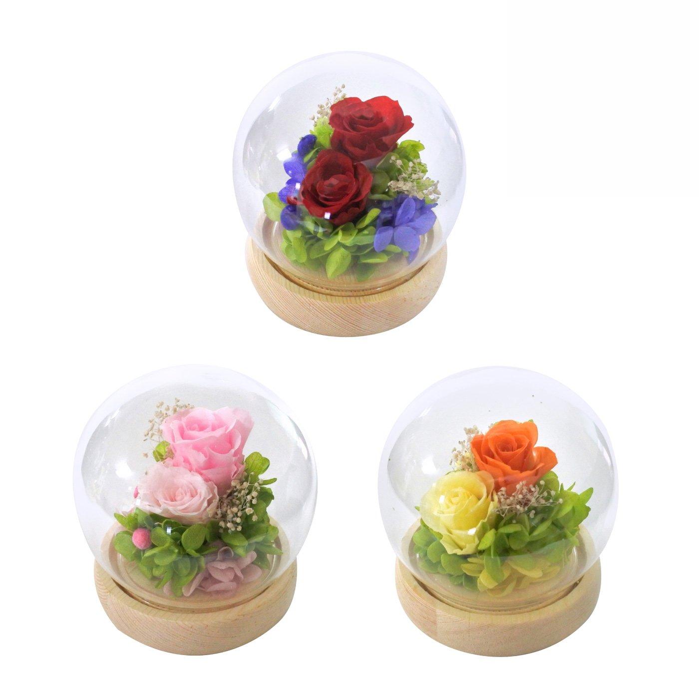 かわいく飾れるプチギフト プリザーブドフラワー ガラスドームアレンジメント