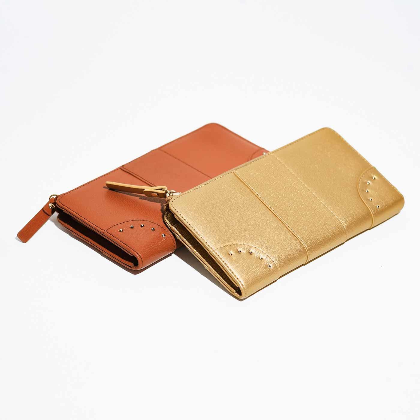 IEDIT[イディット]  ファスナー開きがワンアクションで使いやすい すっきり大人本革財布〈キャメルオレンジ〉