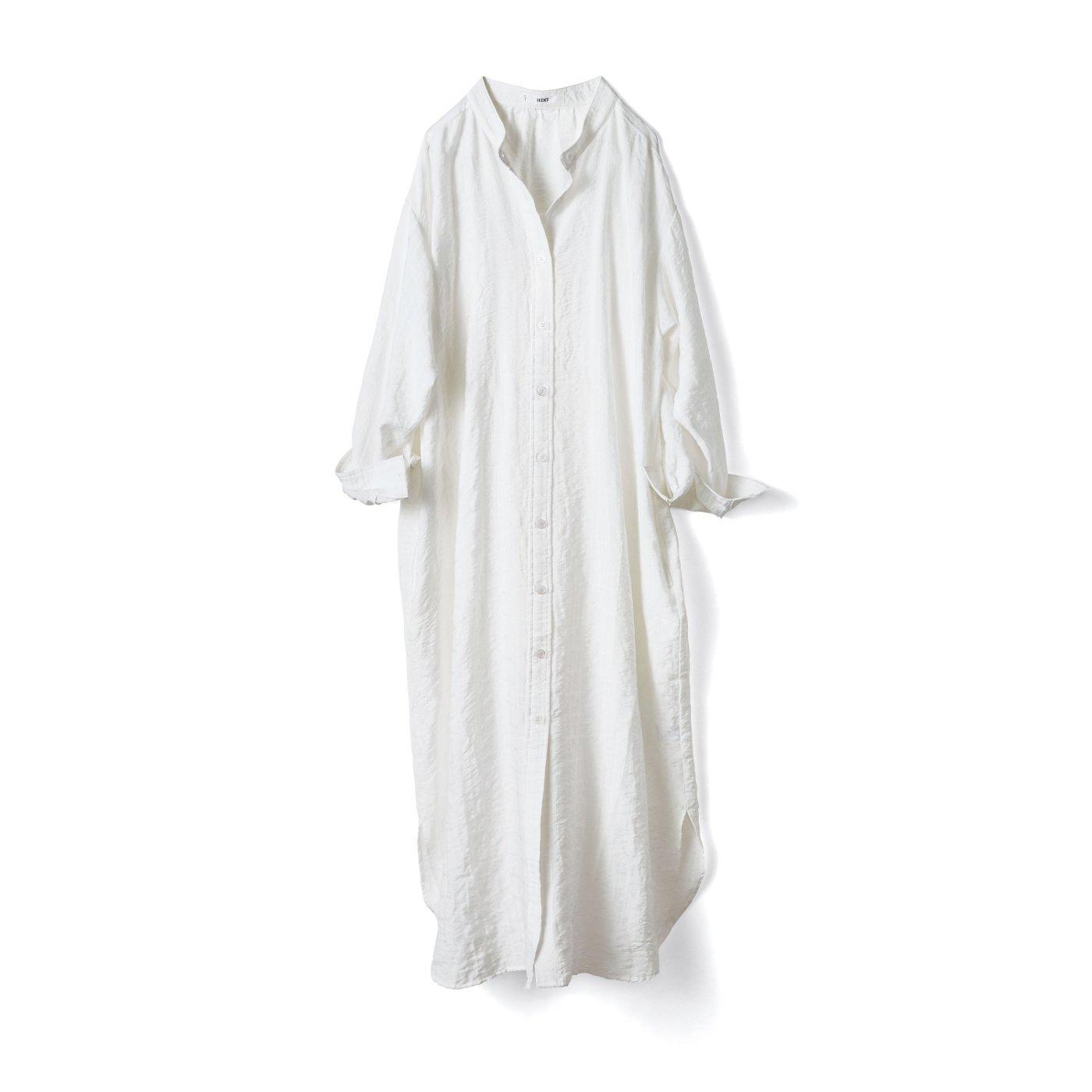 IEDIT リヨセル混素材のロングシャツワンピ〈ホワイト〉