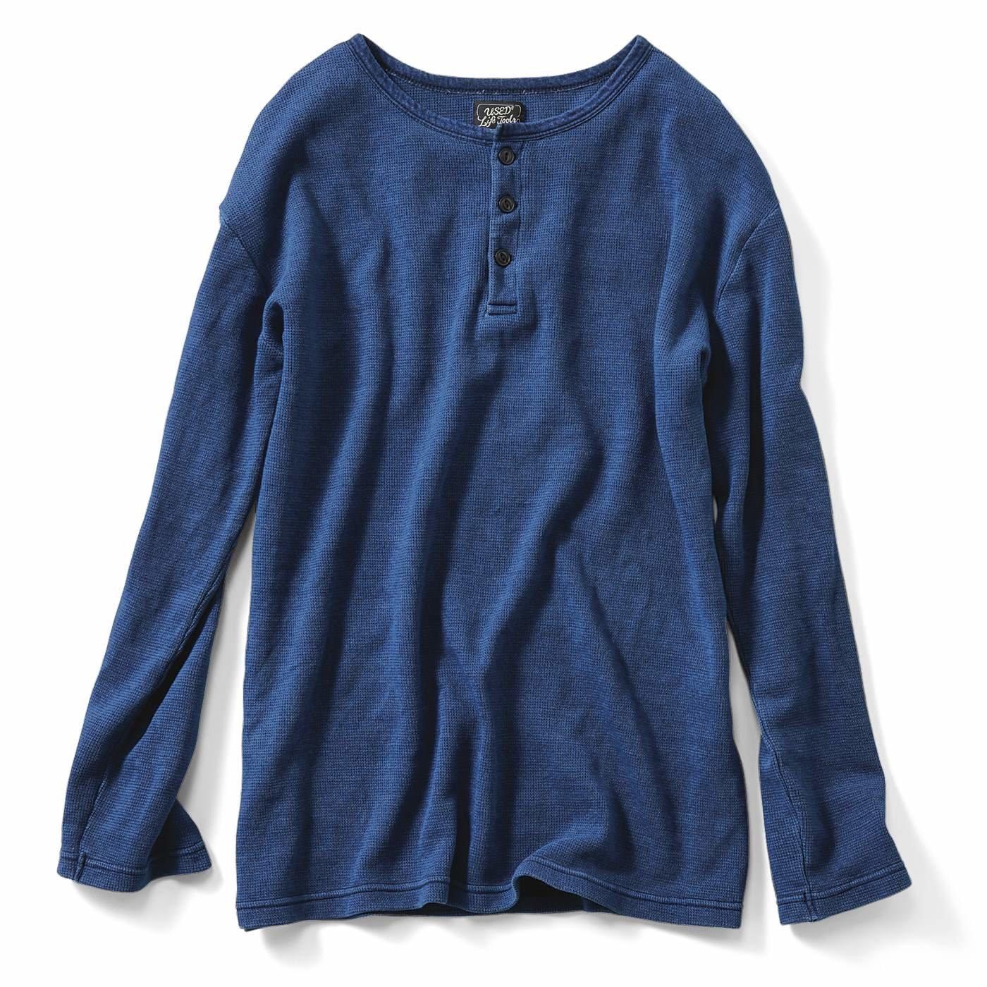 古着屋さんで見つけたようなワッフルヘンリーネックTシャツ〈ライトインディゴブルー〉