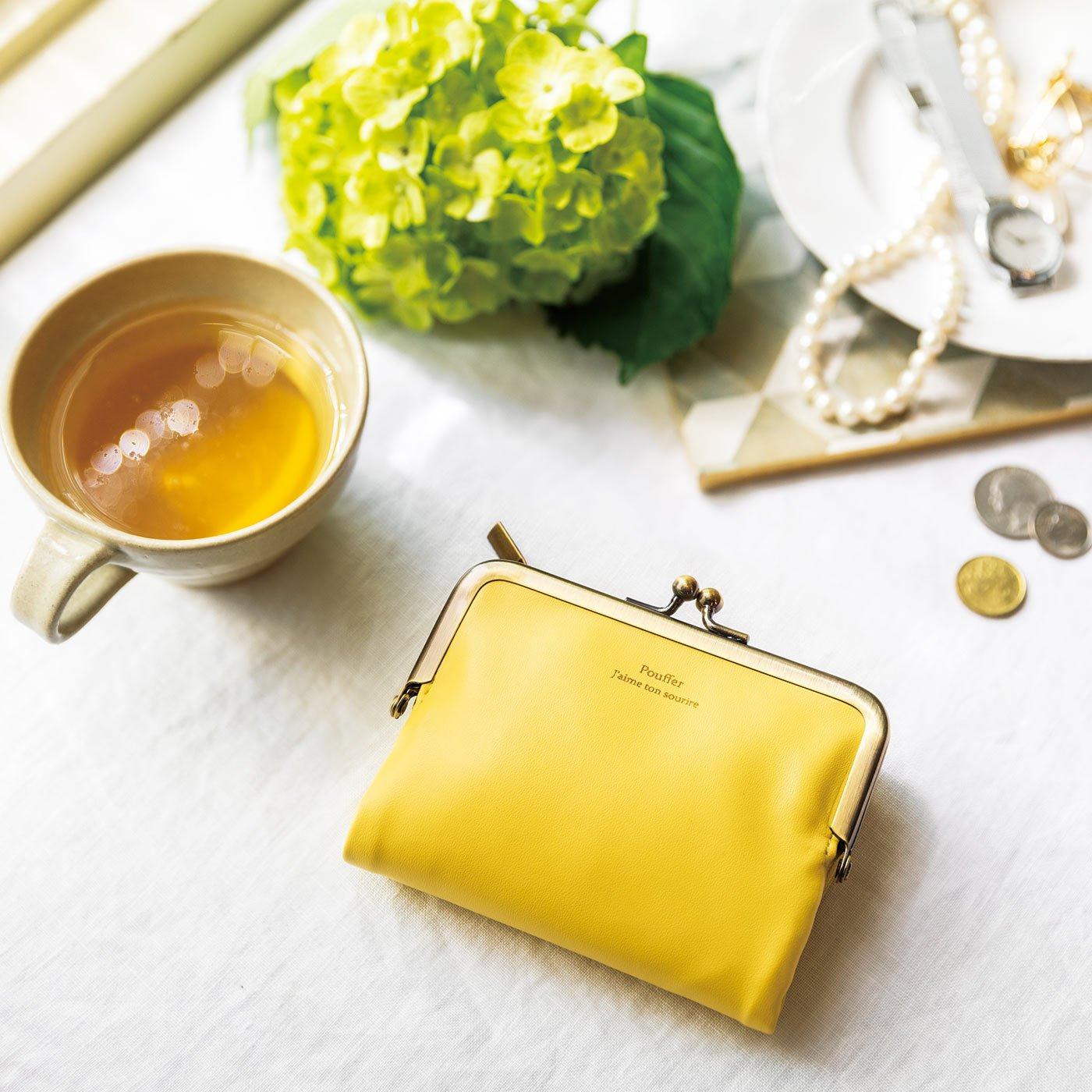 がま口とL字ファスナーが魅力 しあわせたんぽぽ色の手のり財布