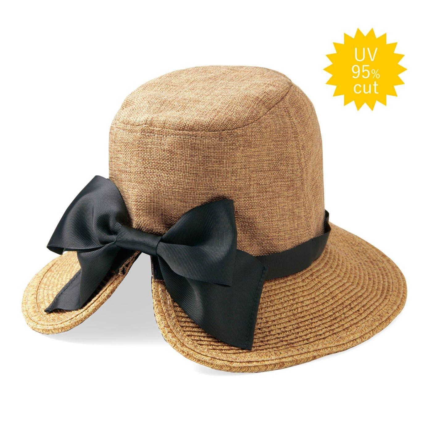 リブ イン コンフォート  異素材遣いの  後ろリボンUVカット帽子〈ナチュラルベージュ〉