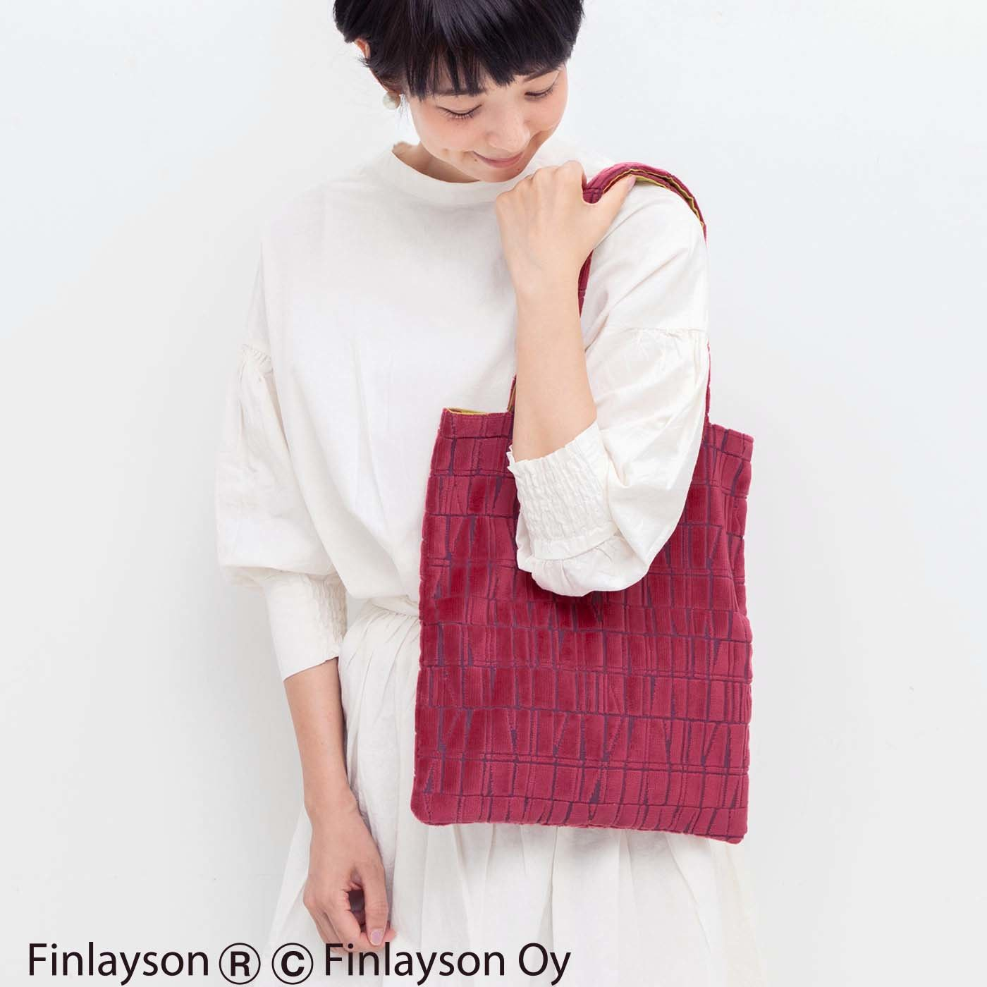 Kraso×フィンレイソン 金華山パイルジャカードの華やか立体織りトートバッグ〈CORONNA〉