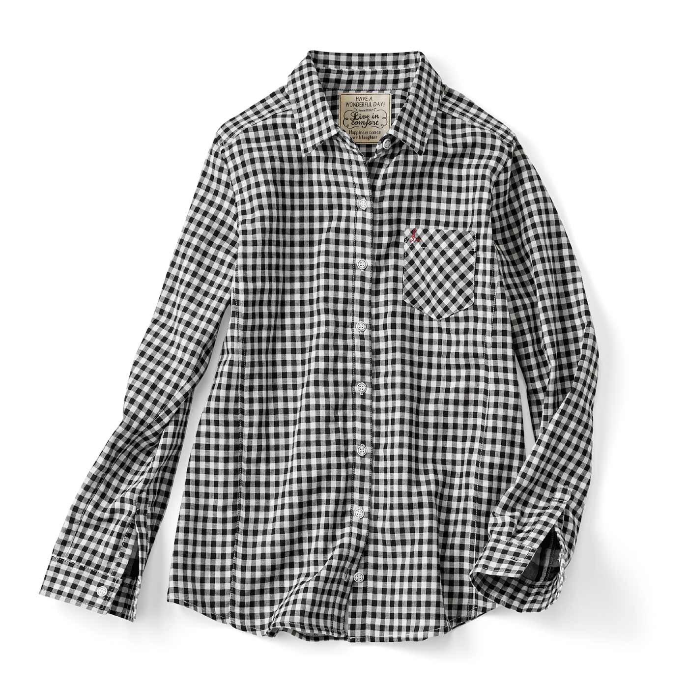 リブ イン コンフォート 重ね着してももたつかない! ストレッチガーゼ×カットソーの伸びシャツ〈白黒ギンガム〉