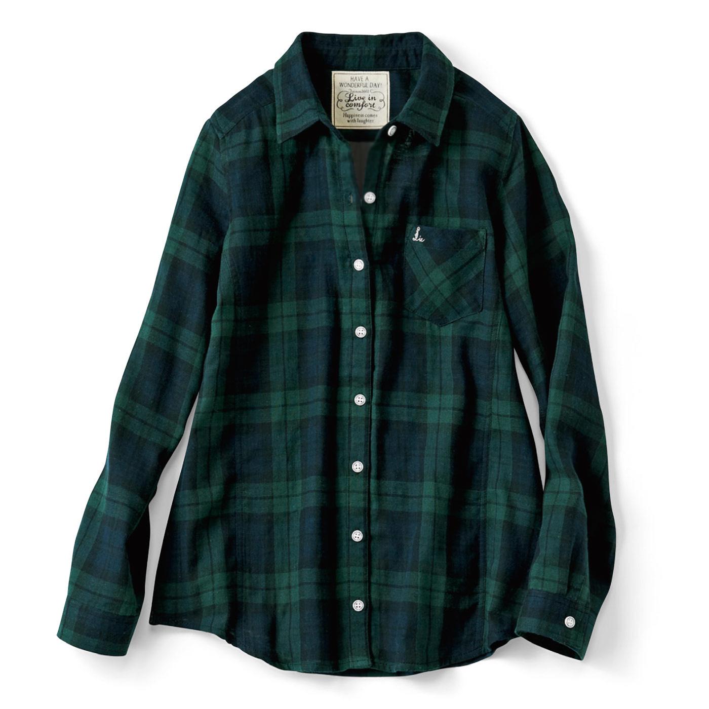 リブ イン コンフォート 重ね着してももたつかない! ストレッチガーゼ×カットソーの伸びシャツ〈ブラックウォッチ〉