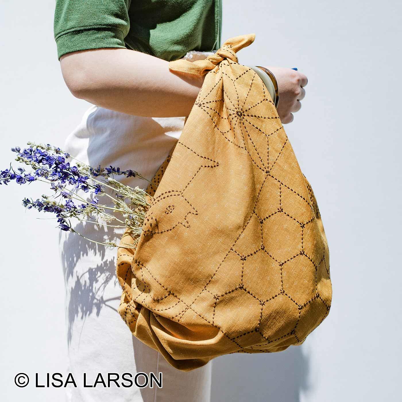 クチュリエ×リサ・ラーソン 縫製済みがうれしい ちくちく刺し子の大判風呂敷(黄)