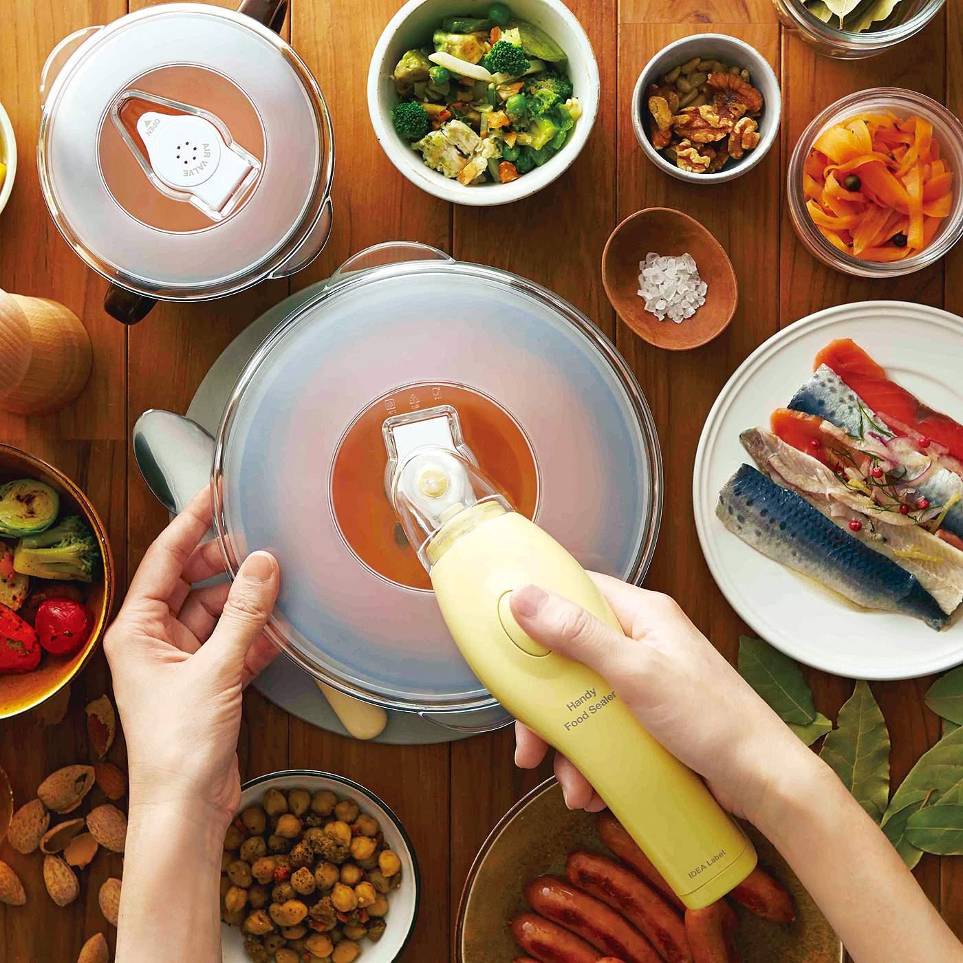 容器にかぶせるシーラーリッドと、食品を入れるシーラーバッグをセットに。シーラーリッドはお手持ちの皿でも使えます。