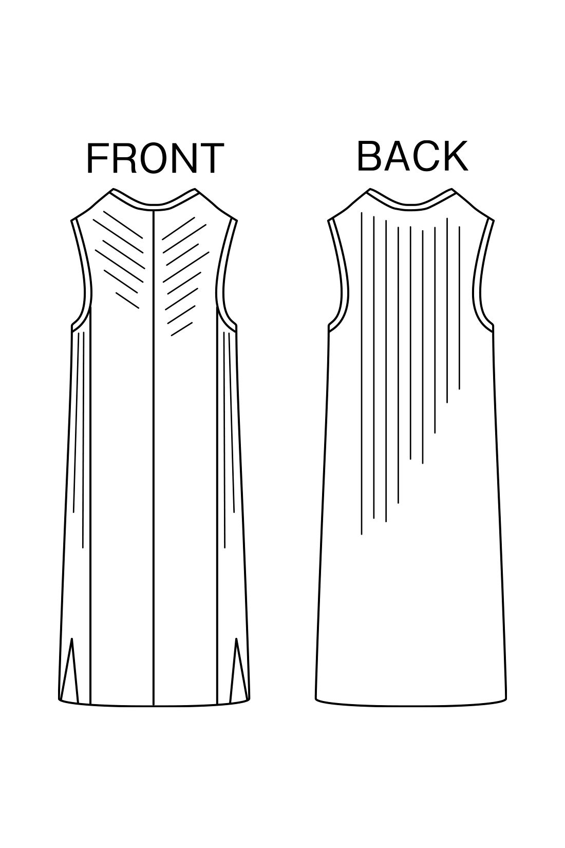 細見せ編み地と縦長のIライン 縦長感を強調するV字とリブを組み合わせた編み立てと長めの丈感が特徴。