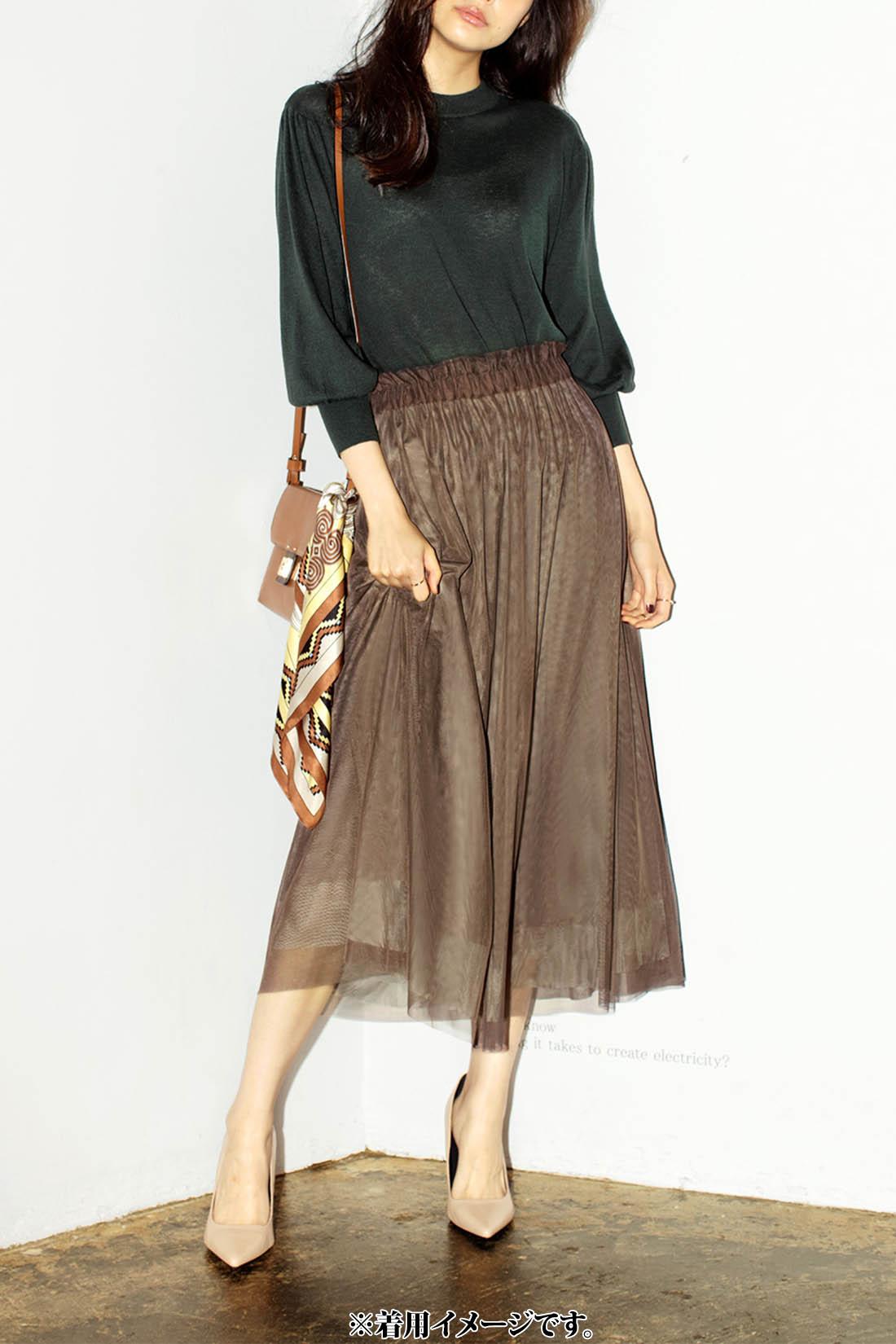 IEDIT 4枚がさねの贅沢ドレープが印象的 配色が美しいチュールスカート〈ブラウン×カーキ〉