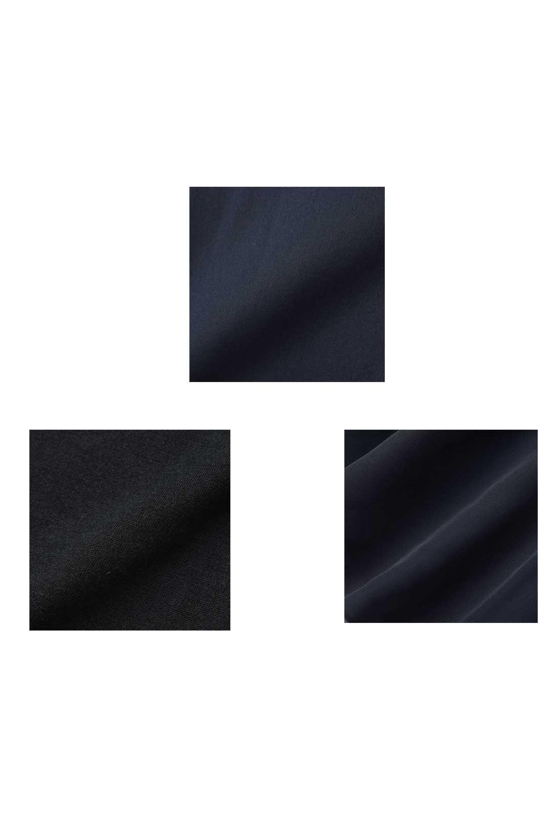 ブラウスは少し光沢があるベネシャン。タンクトップの身ごろは肌ざわりのよいカットソー。すそはふんわり透けるシフォン素材で軽やか。