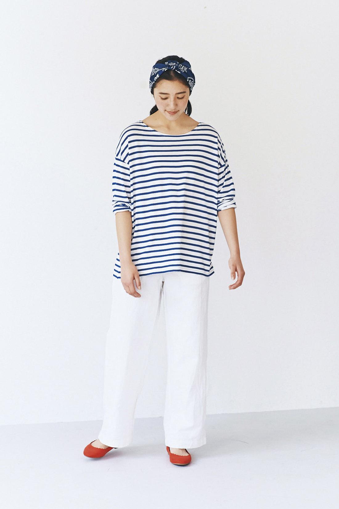 avecmoi 八分袖Tシャツ<ボーダー>