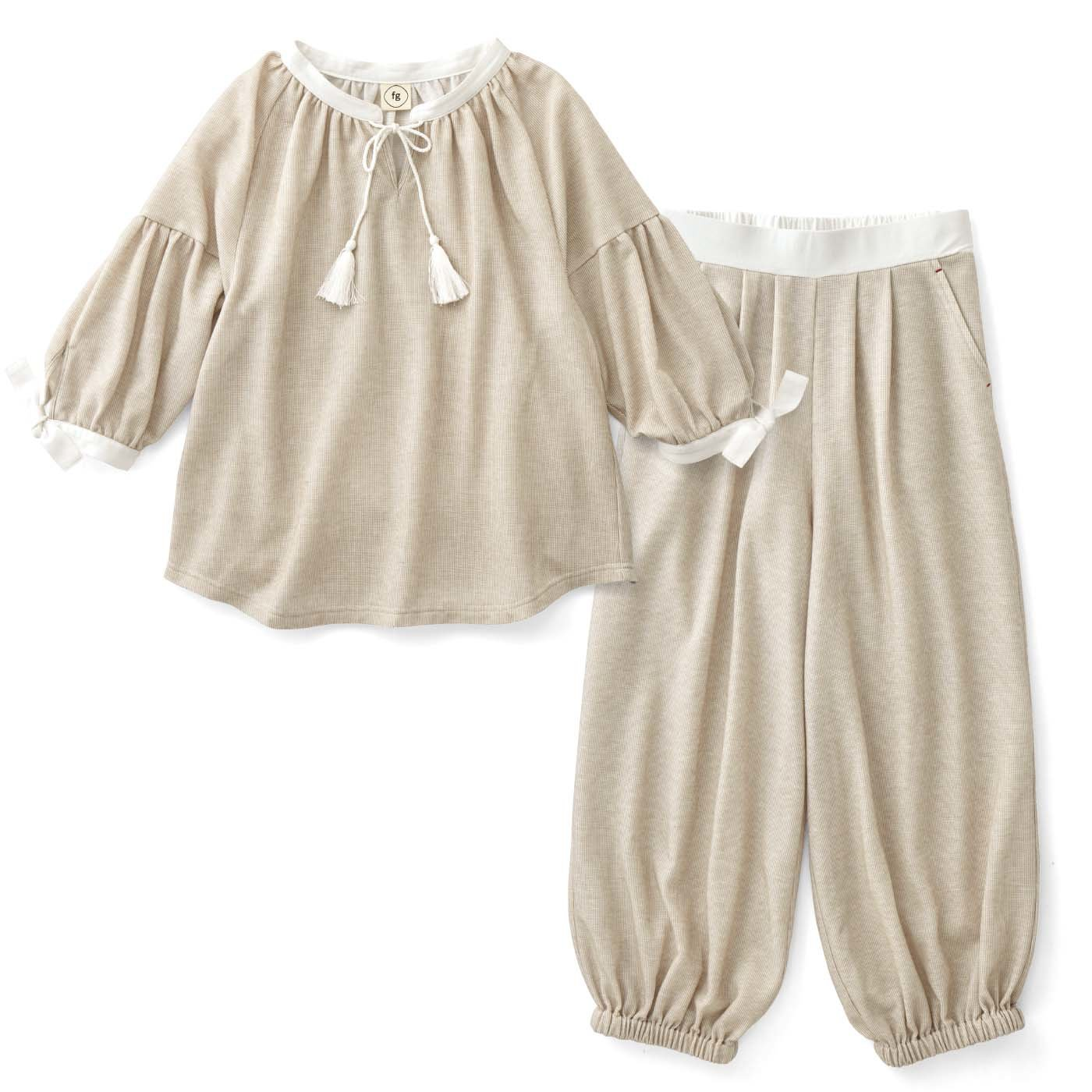 フラウグラット やわらか綿混で布はく見え♪ こでかけOKでそのまま寝られるウェアセット〈ベージュストライプ〉
