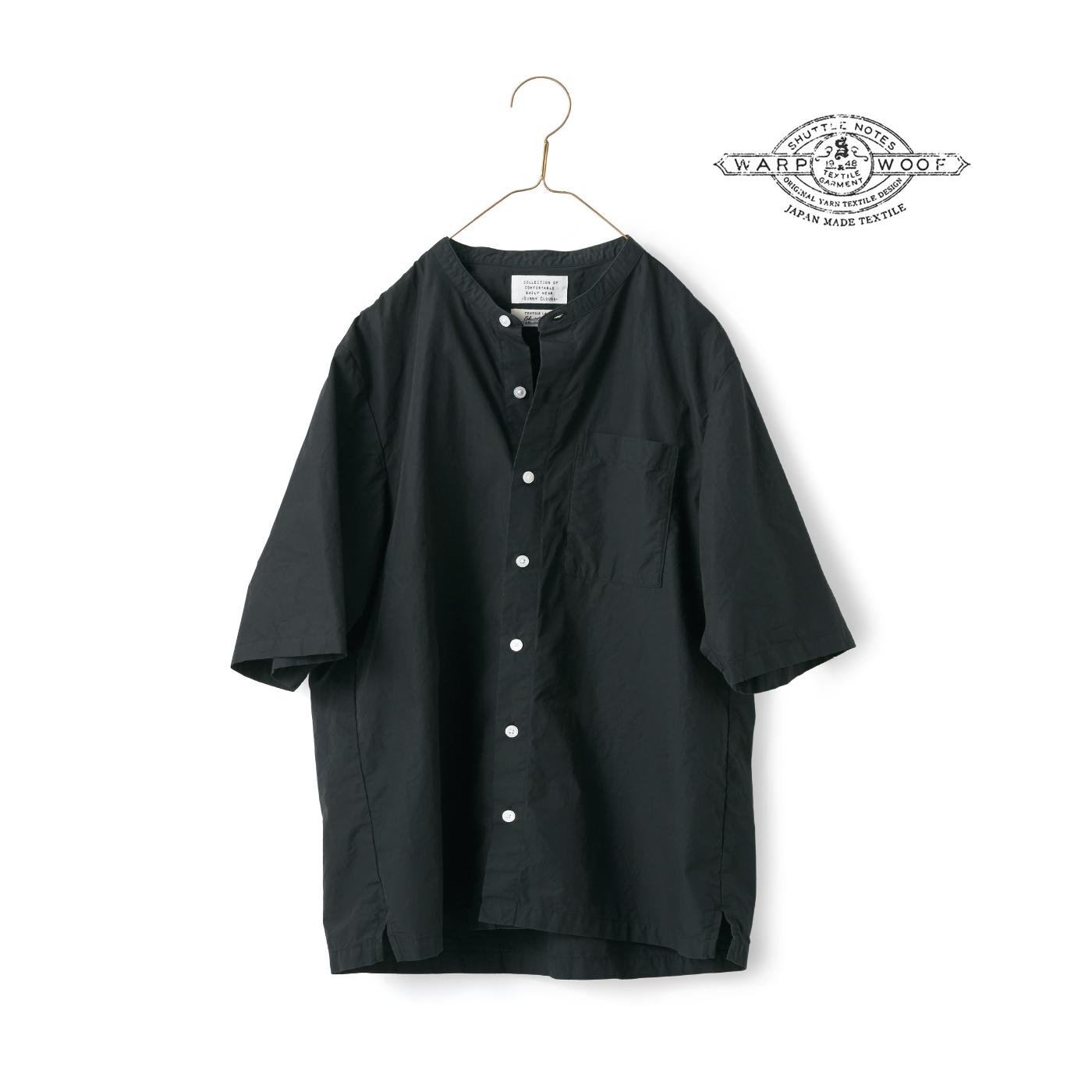 サニークラウズ feat. Shuttle Notes 男前なスタンドカラーシャツ黒