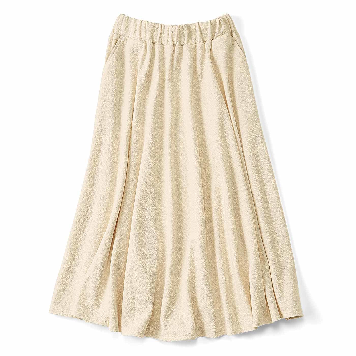 ぽこぽこ柄がかわいい フレアースカート〈バニラ〉