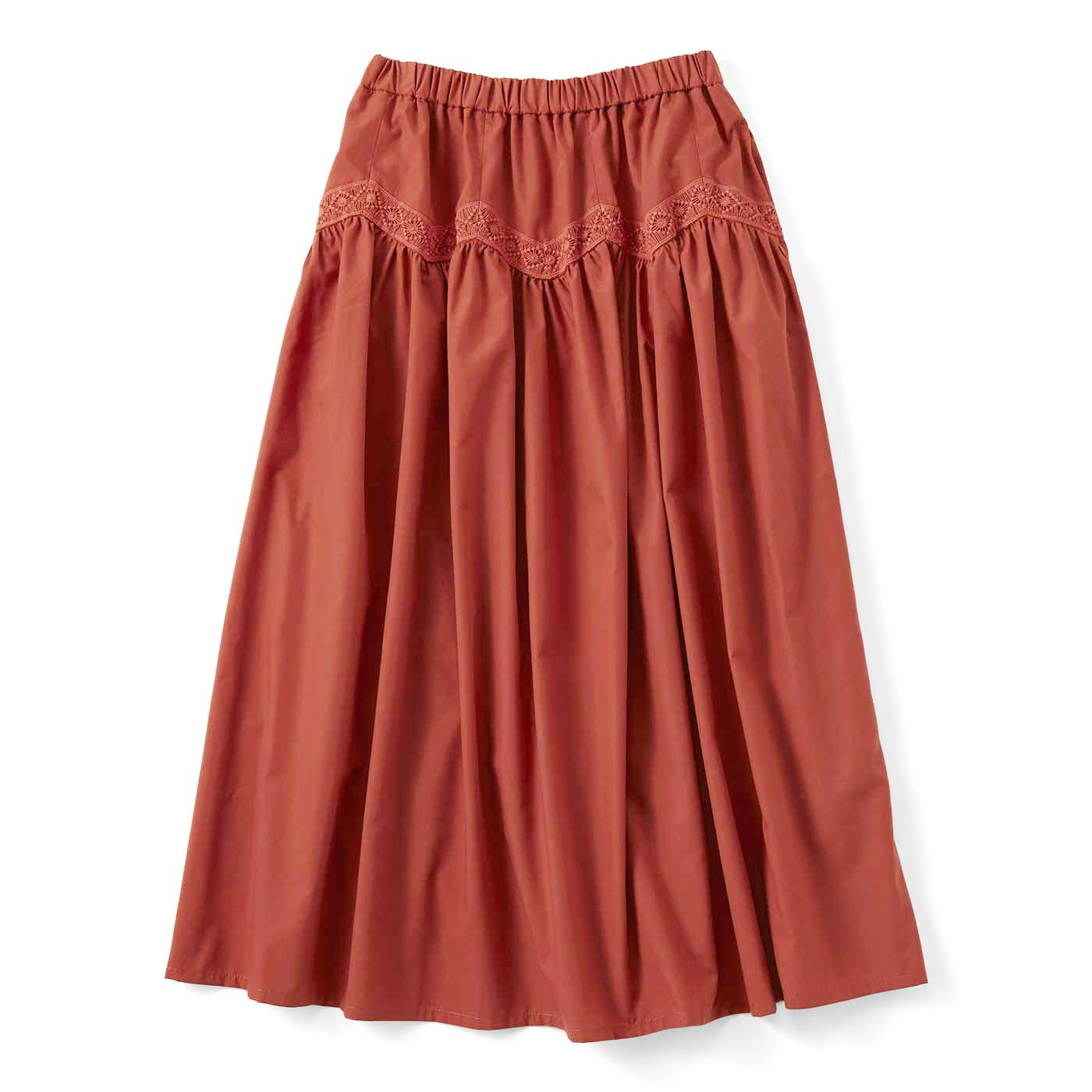 ジグザグレースのボリュームスカート〈テラコッタブラウン〉