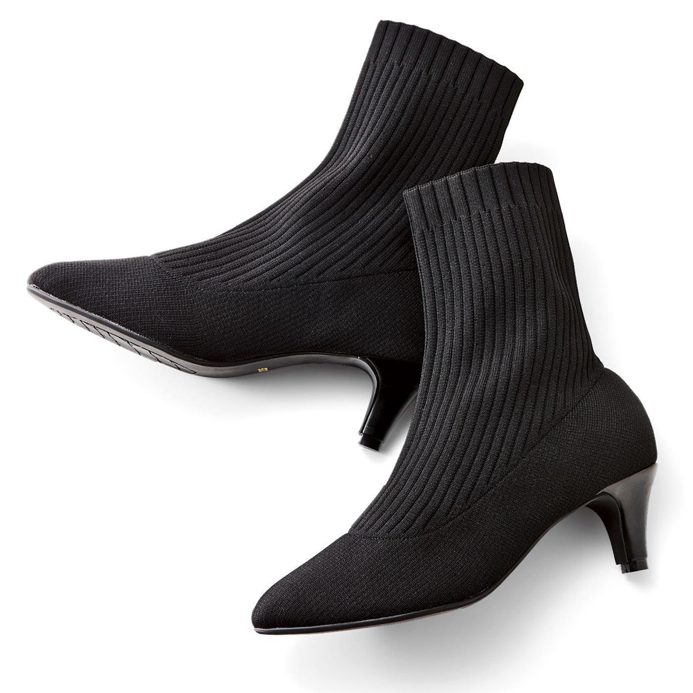 IEDIT[イディット] しなやかな履き心地のキャットフィット リブニットショートブーツ〈ブラック〉