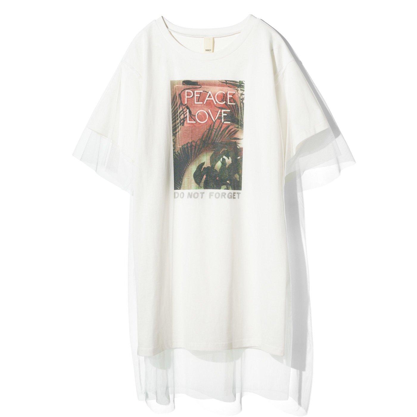 IEDIT[イディット] グラフィックプリントのレイヤードビッグTシャツ〈ホワイト〉