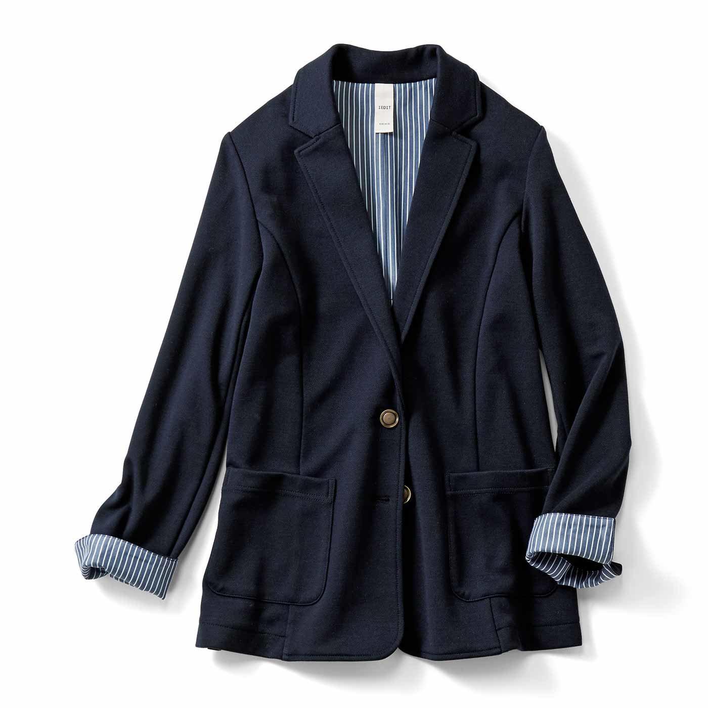 【3~10日でお届け】IEDIT[イディット] ちょい長め丈のカットソー紺ブレジャケット