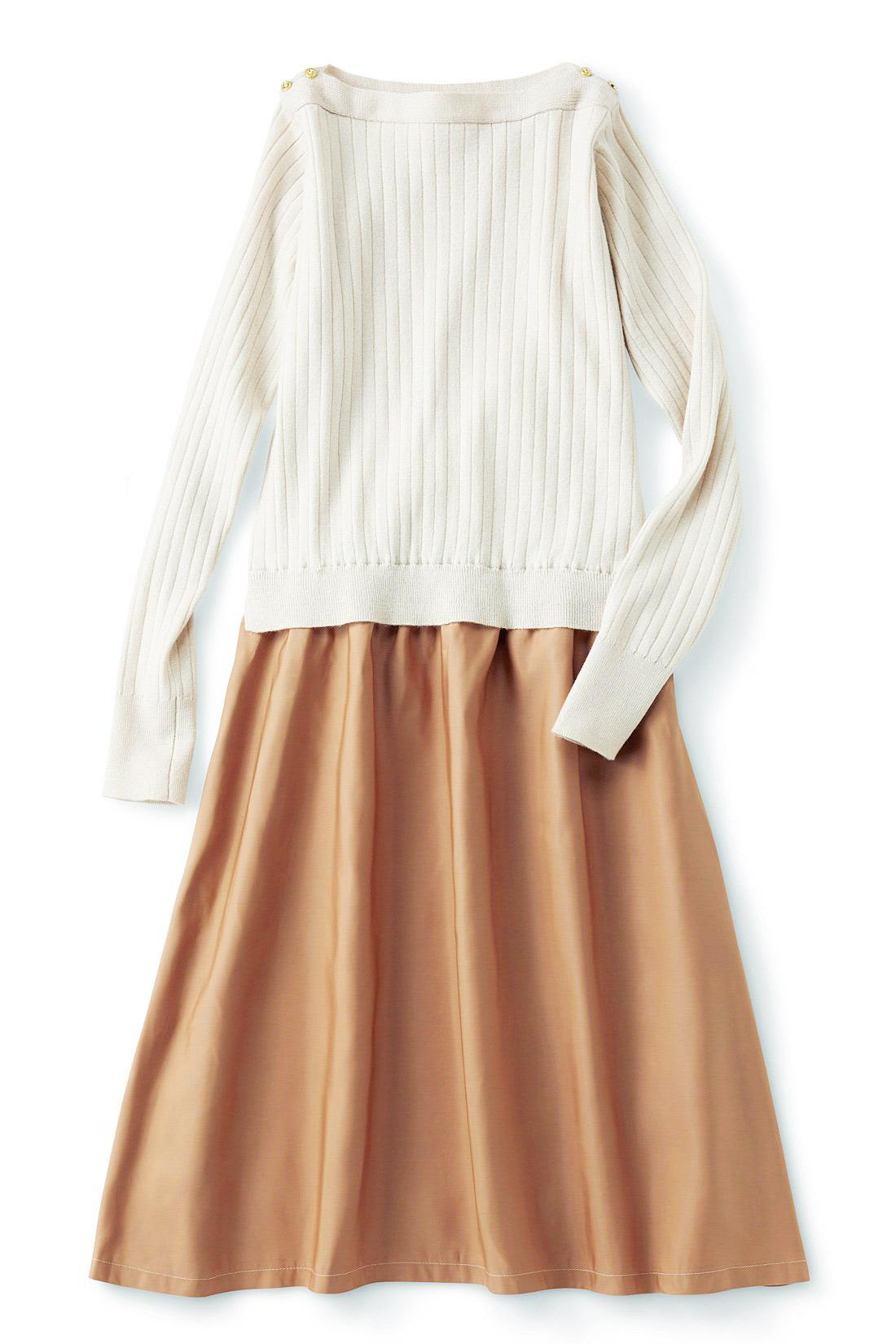 <アイボリー・テラコッタ> スカート部分はポリエステルで、しわが気になりにくいのがうれしい。