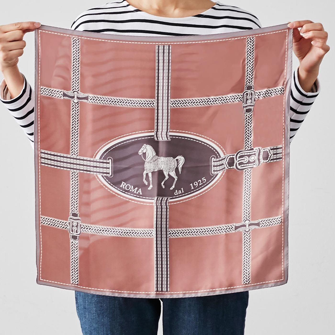 IEDIT[イディット] SELECT 大判遣いでアレンジ自在な馬柄スカーフ〈ピンク〉