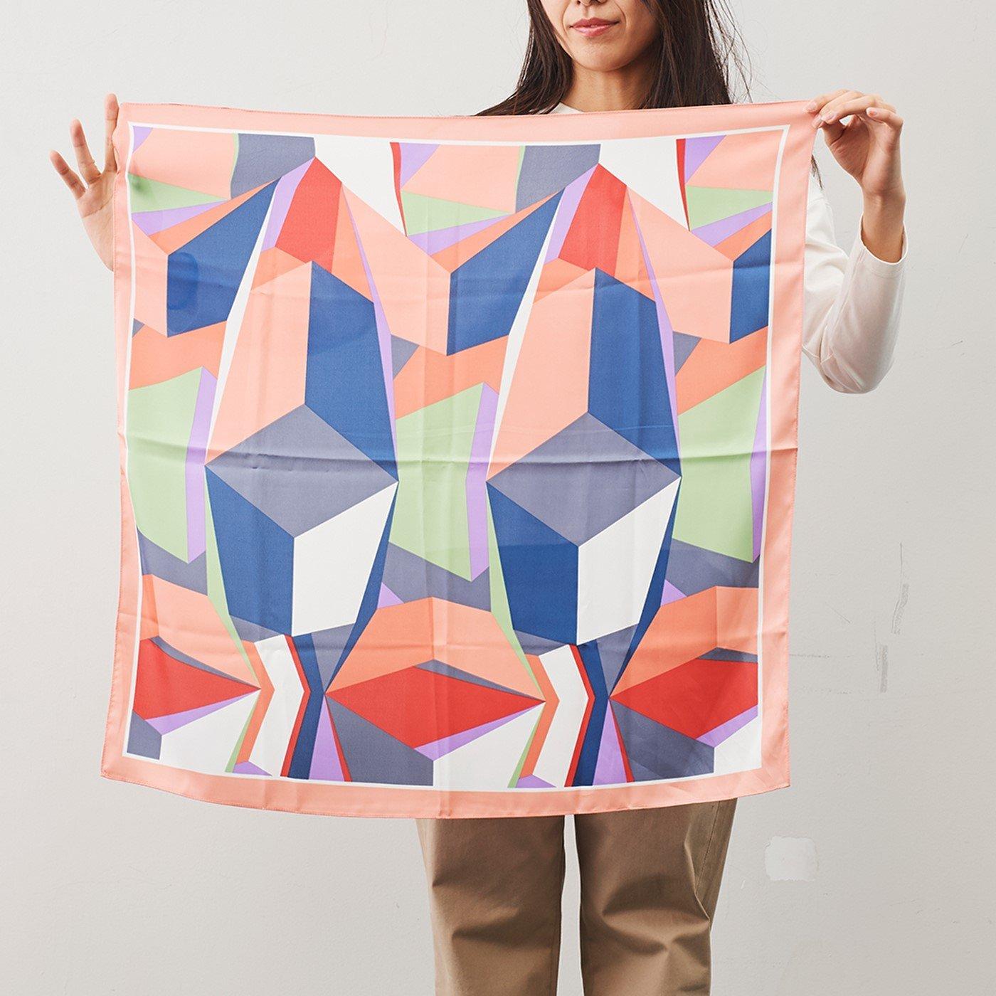 IEDIT[イディット] SELECT 幾何学模様スカーフ〈ピンク〉22648