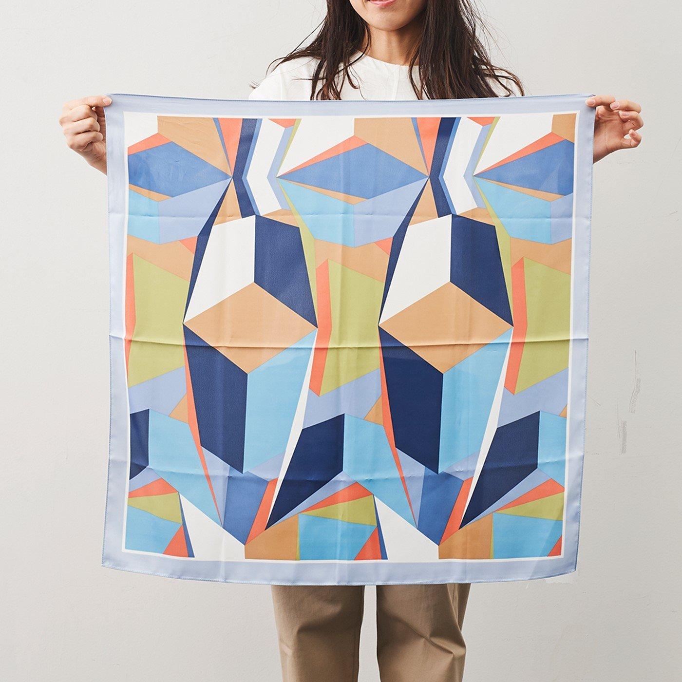 IEDIT[イディット] SELECT 幾何学模様スカーフ〈ブルー〉22648