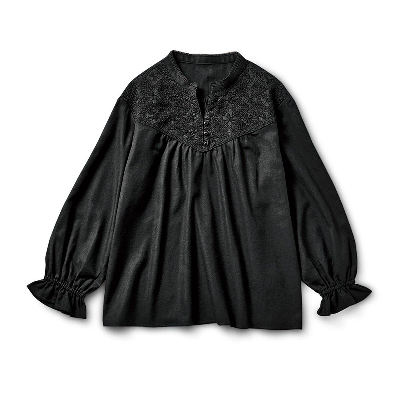 リブ イン コンフォート 着るだけでパッと大人の華やぎ ブラックレースプルオーバー〈スキッパーデザイン〉