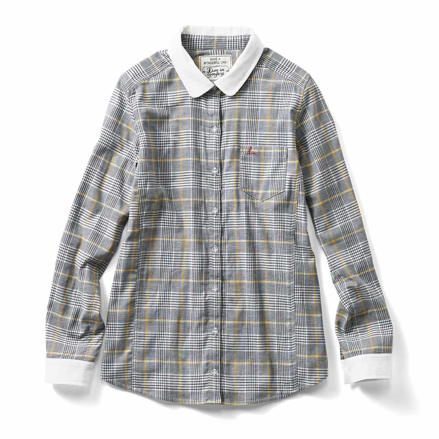 リブ イン コンフォート 重ね着してももたつかない! ストレッチガーゼ×カットソーの伸びシャツ〈ブラックチェック〉
