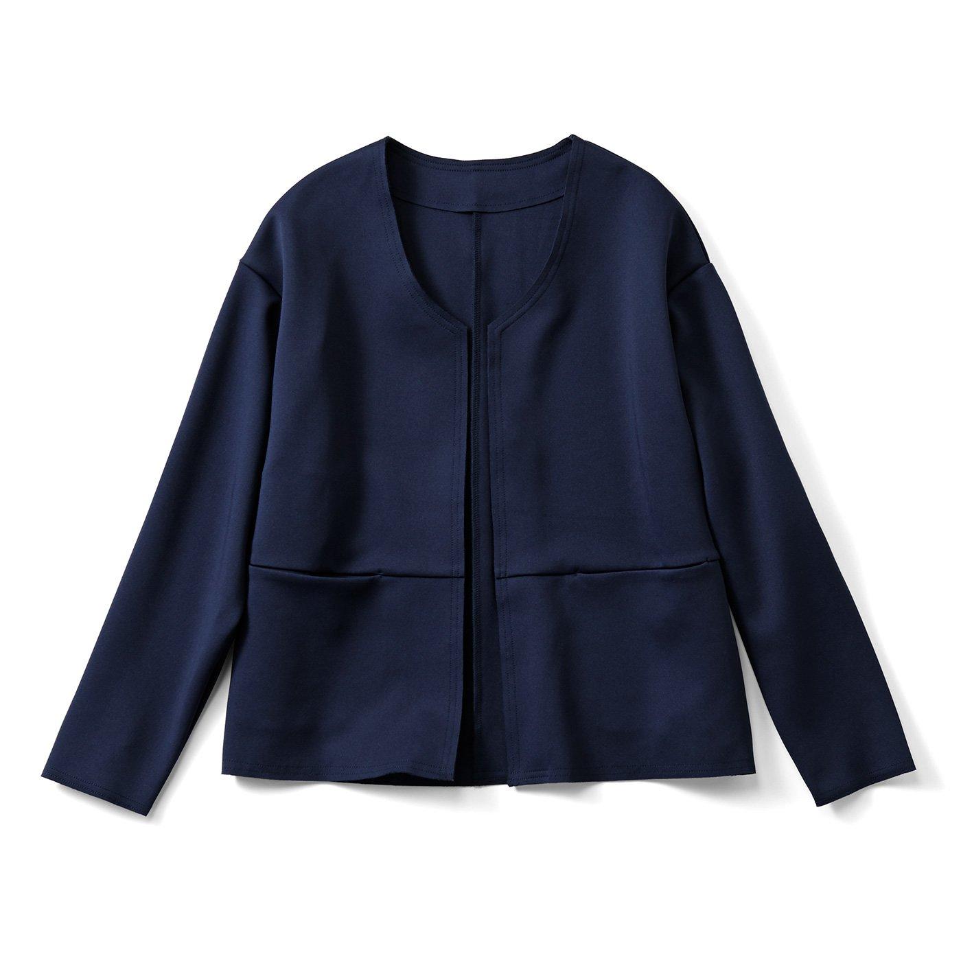 HIROMI YOSHIDA. すっきりノーカラージャケット〈ネイビー〉