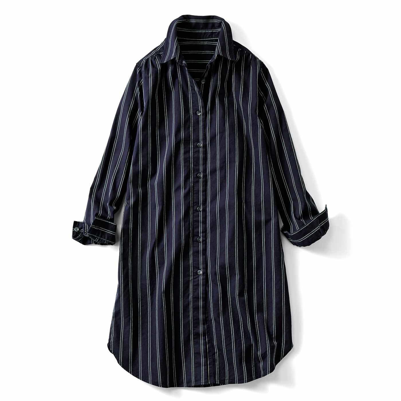 HIROMI YOSHIDA. レジメンタルストライプロングシャツ〈ネイビー〉