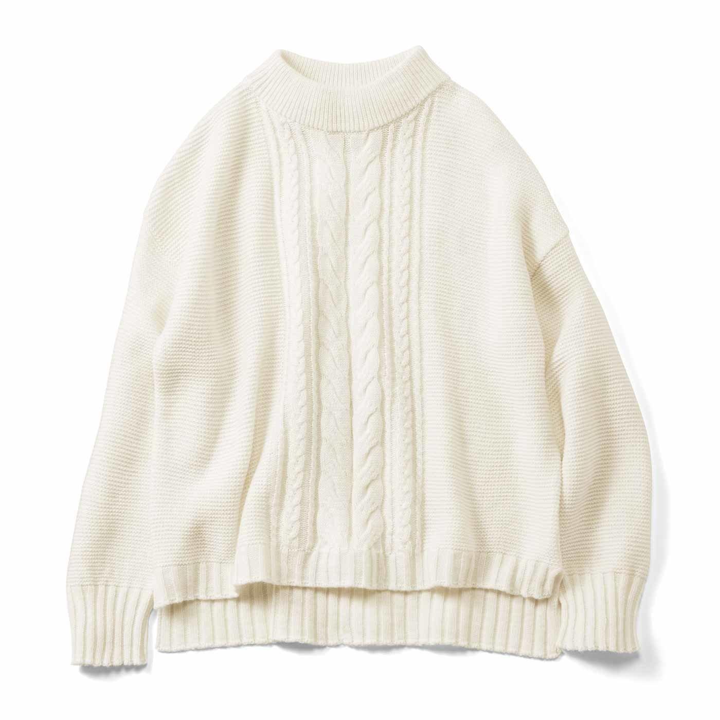 HIROMI YOSHIDA. アラン模様で切り替えた真っ白なセーター