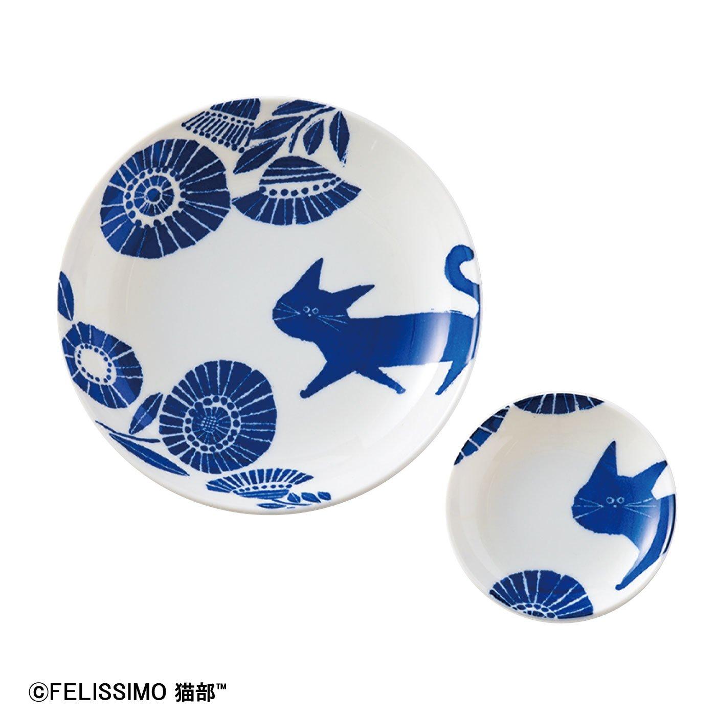 猫部×coco.a 和柄猫お皿セット さんぽ道〈平皿〉の会