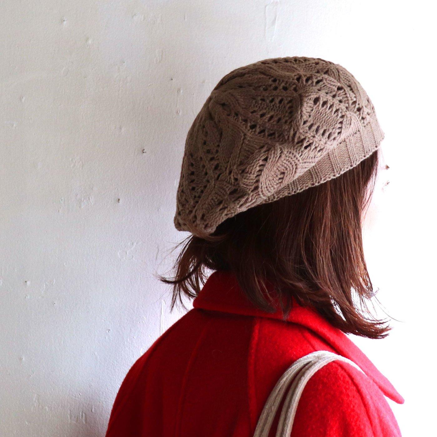 ゆったりフィットな模様編みベレー