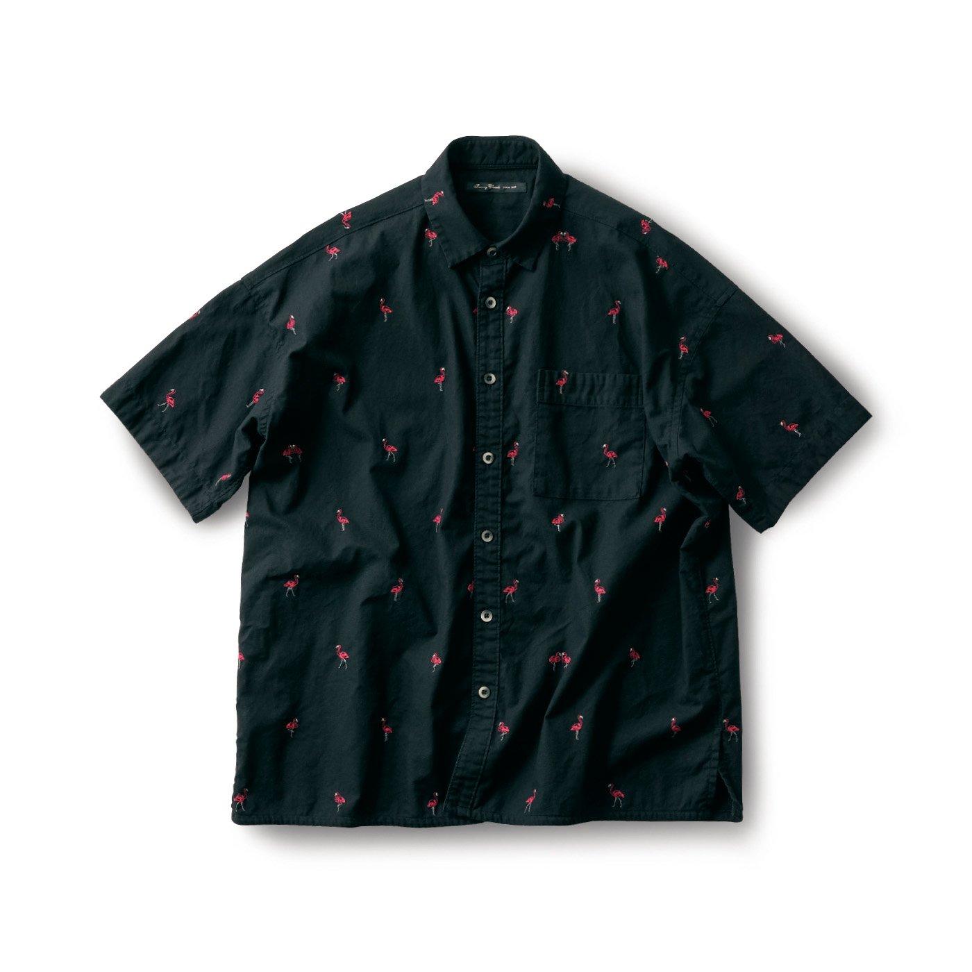 サニークラウズ ご陽気フラミンゴシャツ〈メンズ〉黒