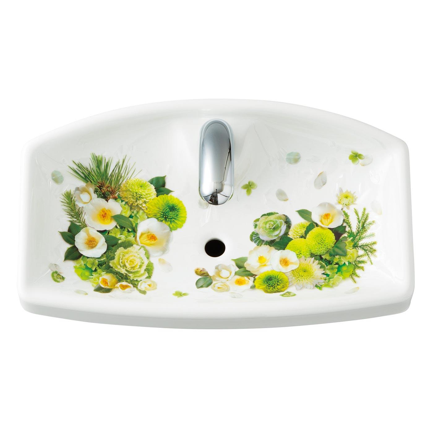 白いお花とのコントラストがさわやかな「グリーン」で健やかな毎日を。