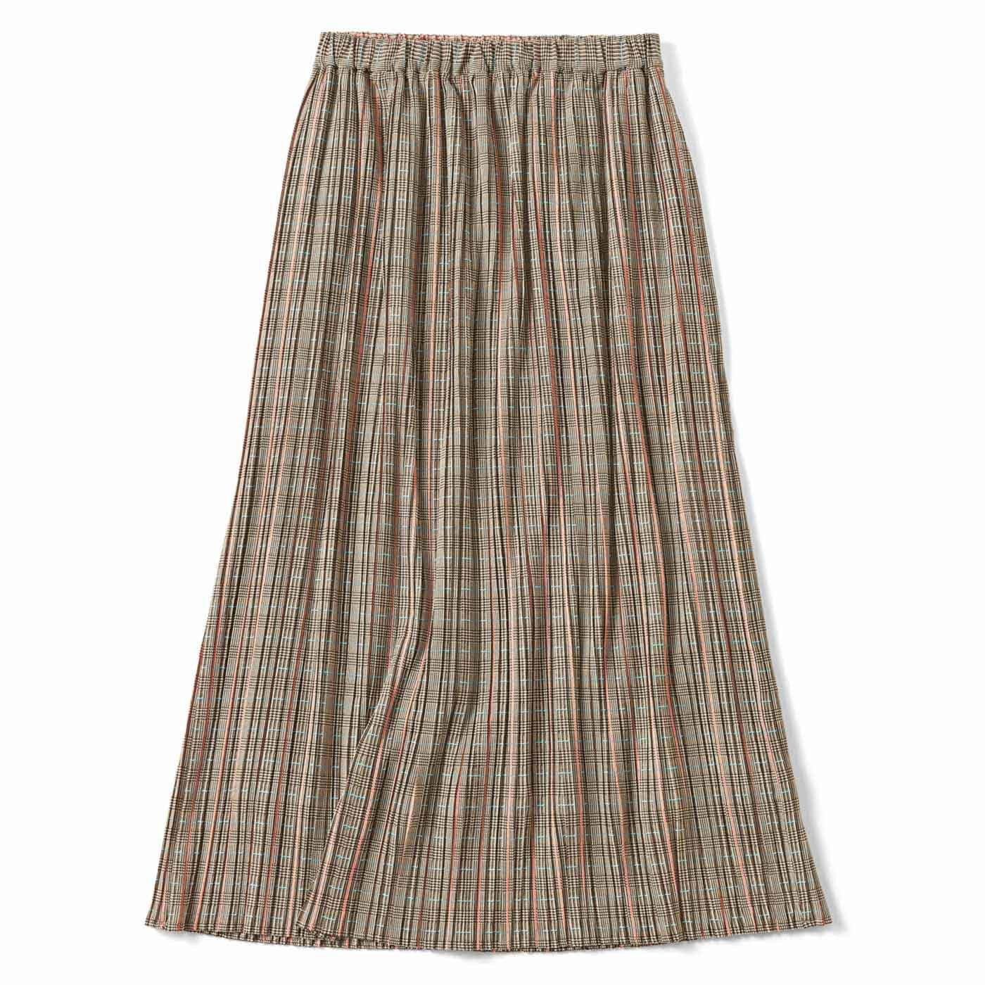 細幅が新鮮 プリーツスカート〈ブラウン〉