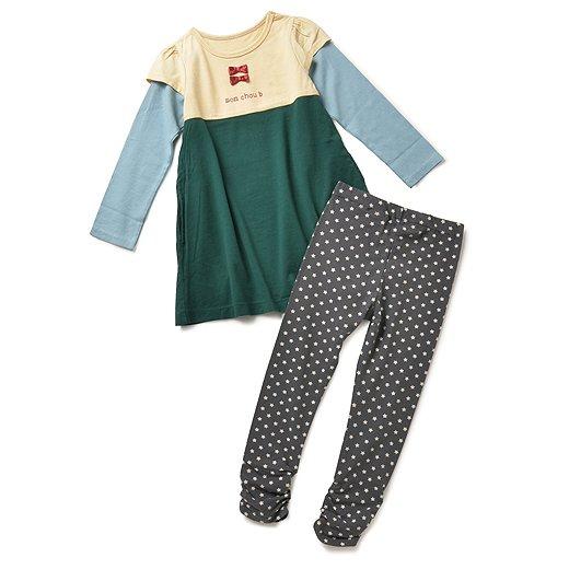 モンシュー ベー ガールズコーディネイトスーツ(ベージュ×グリーン×グレイ)