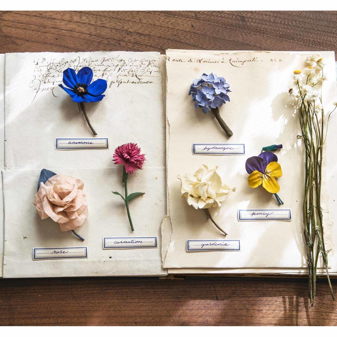 植物図鑑からそっと取り出したような 布花のコサージュ