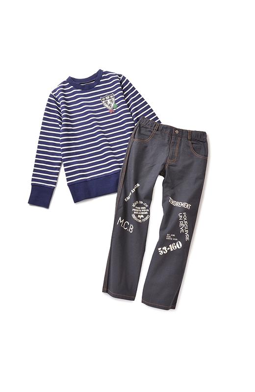 スタイリッシュなトップスに、着まわしやすいパンツをセット。