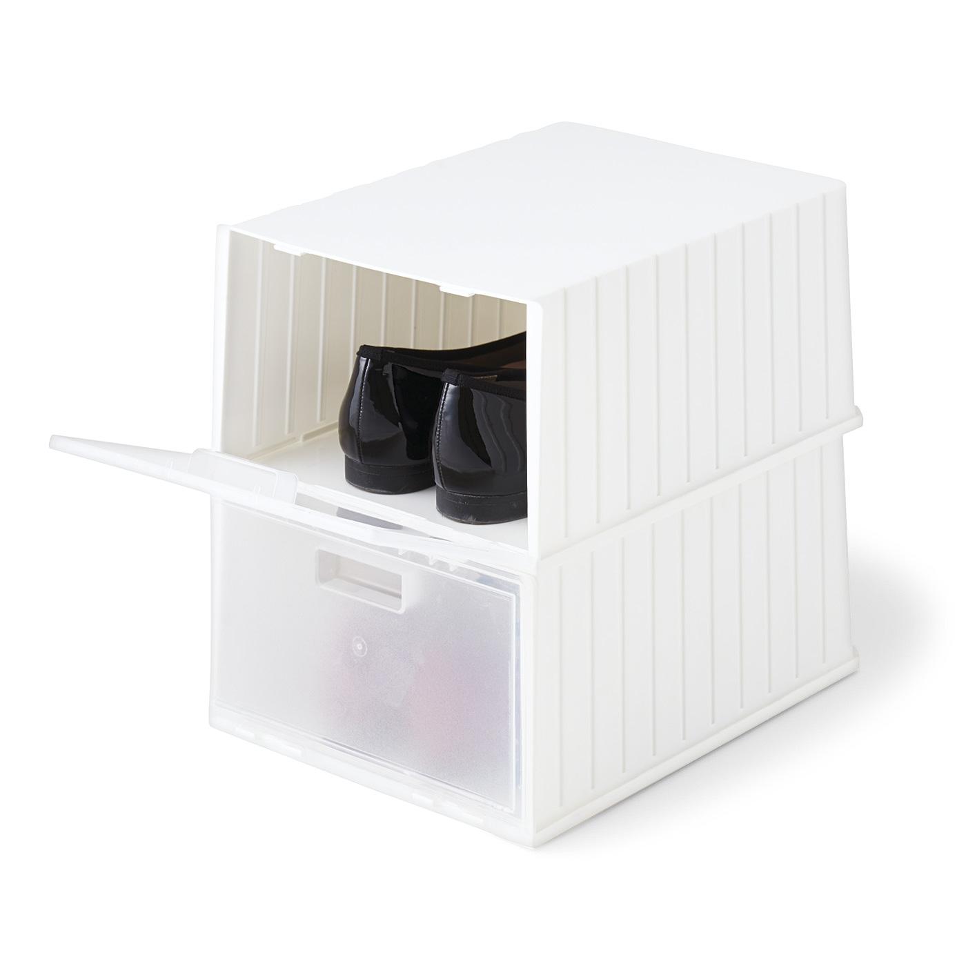 フェリシモ 重ねて前からふたが開けられる シューズボックス〈ホワイト〉2個セットの会