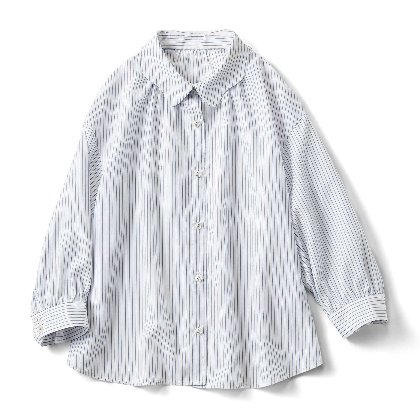 フェリシモ なみなみ衿の七分袖ブラウス〈ストライプ〉