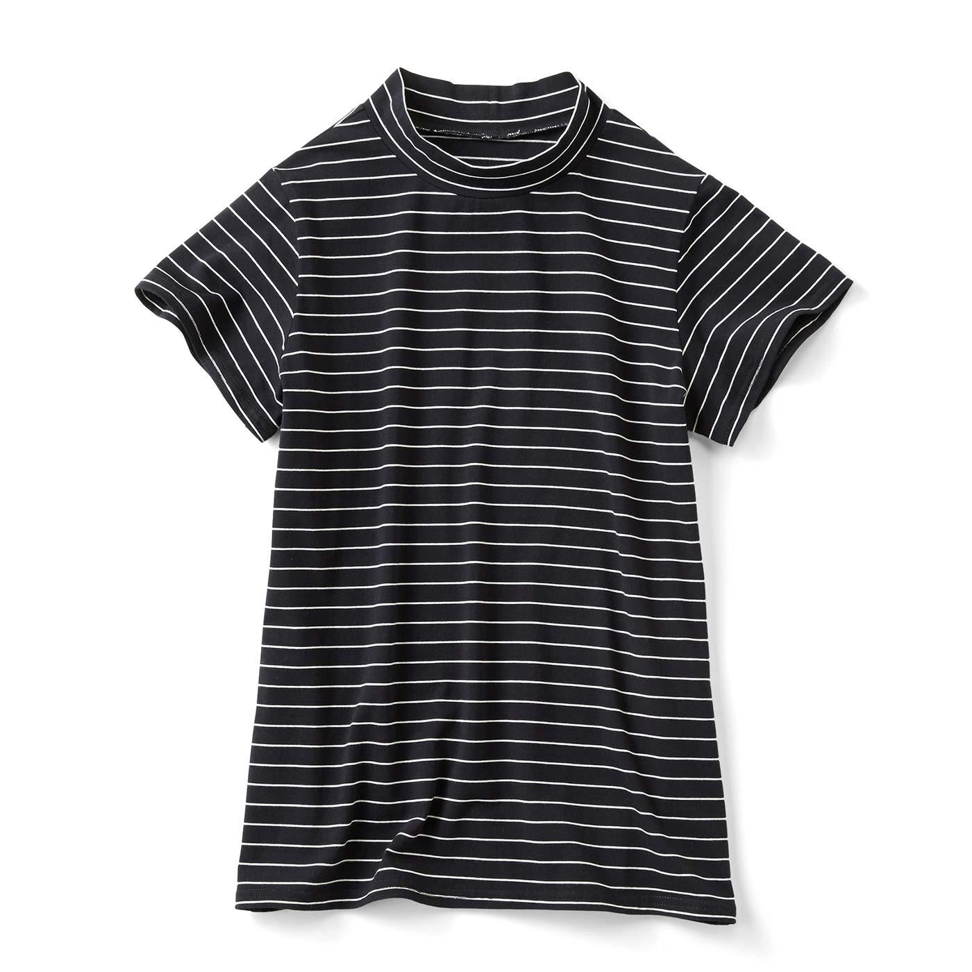 さらっと今風 ボーダーハイネックTシャツ〈ブラック×ホワイト〉