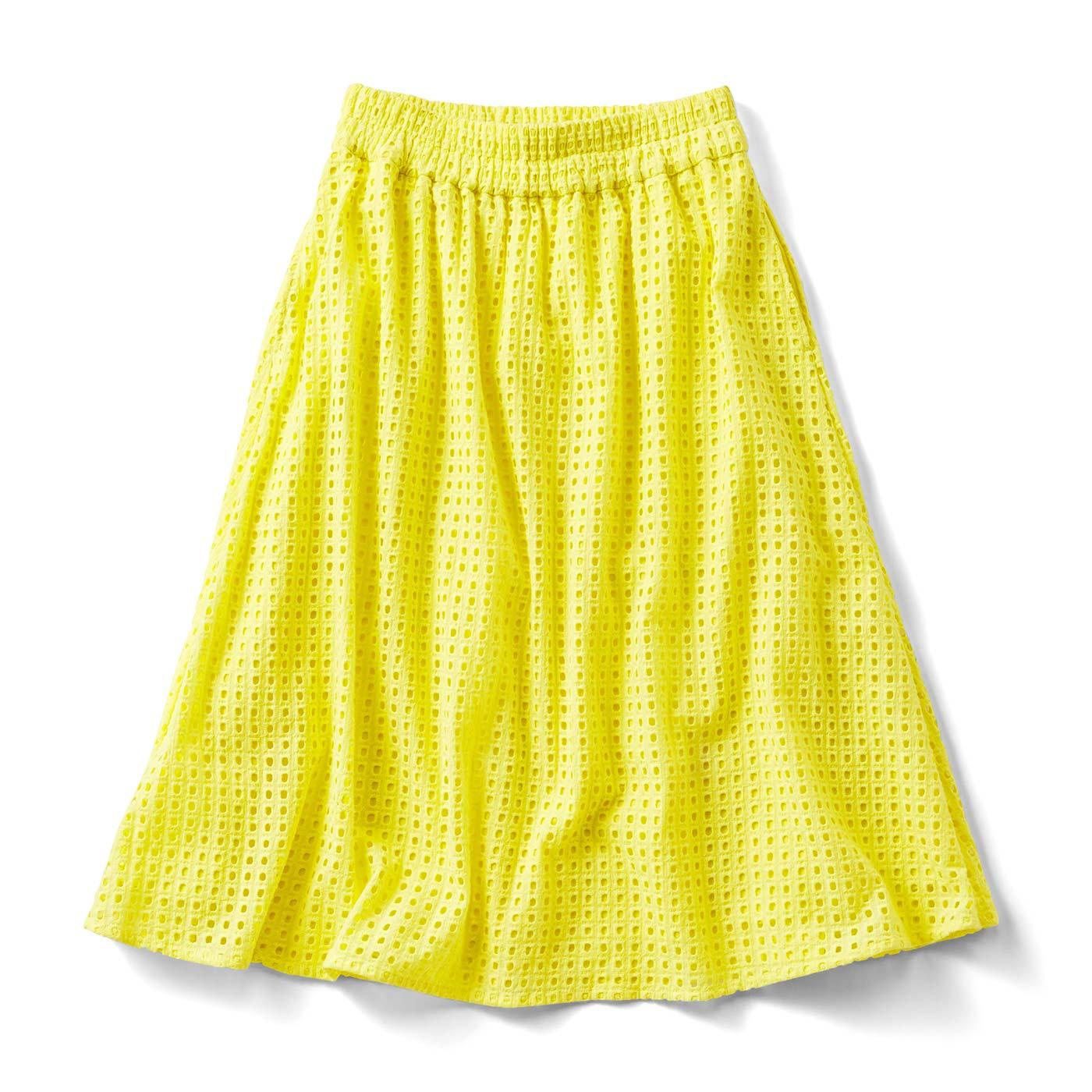 フェリシモ ヴィヴィッドカラーのアイレットスカート〈イエロー〉