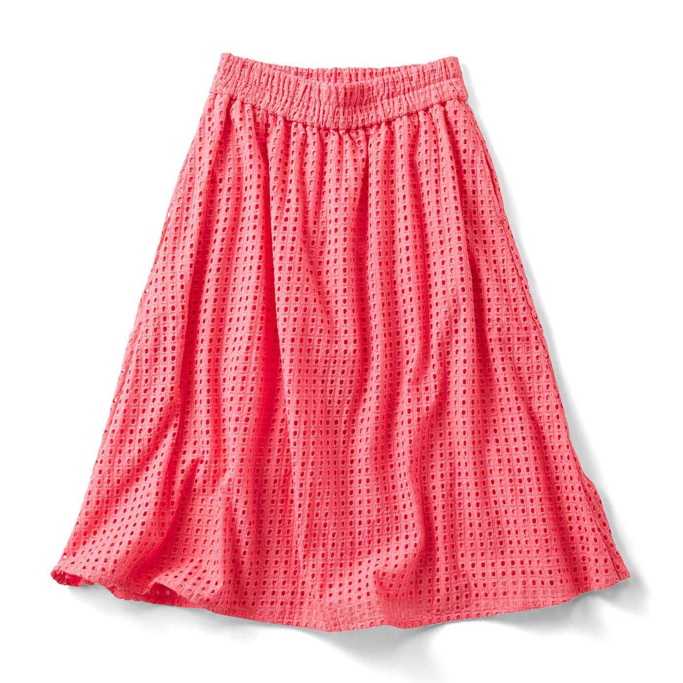 フェリシモ ヴィヴィッドカラーのアイレットスカート〈ピンク〉