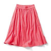 <フェリシモ>ヴィヴィッドカラーのアイレットスカート〈ピンク〉【送料無料】