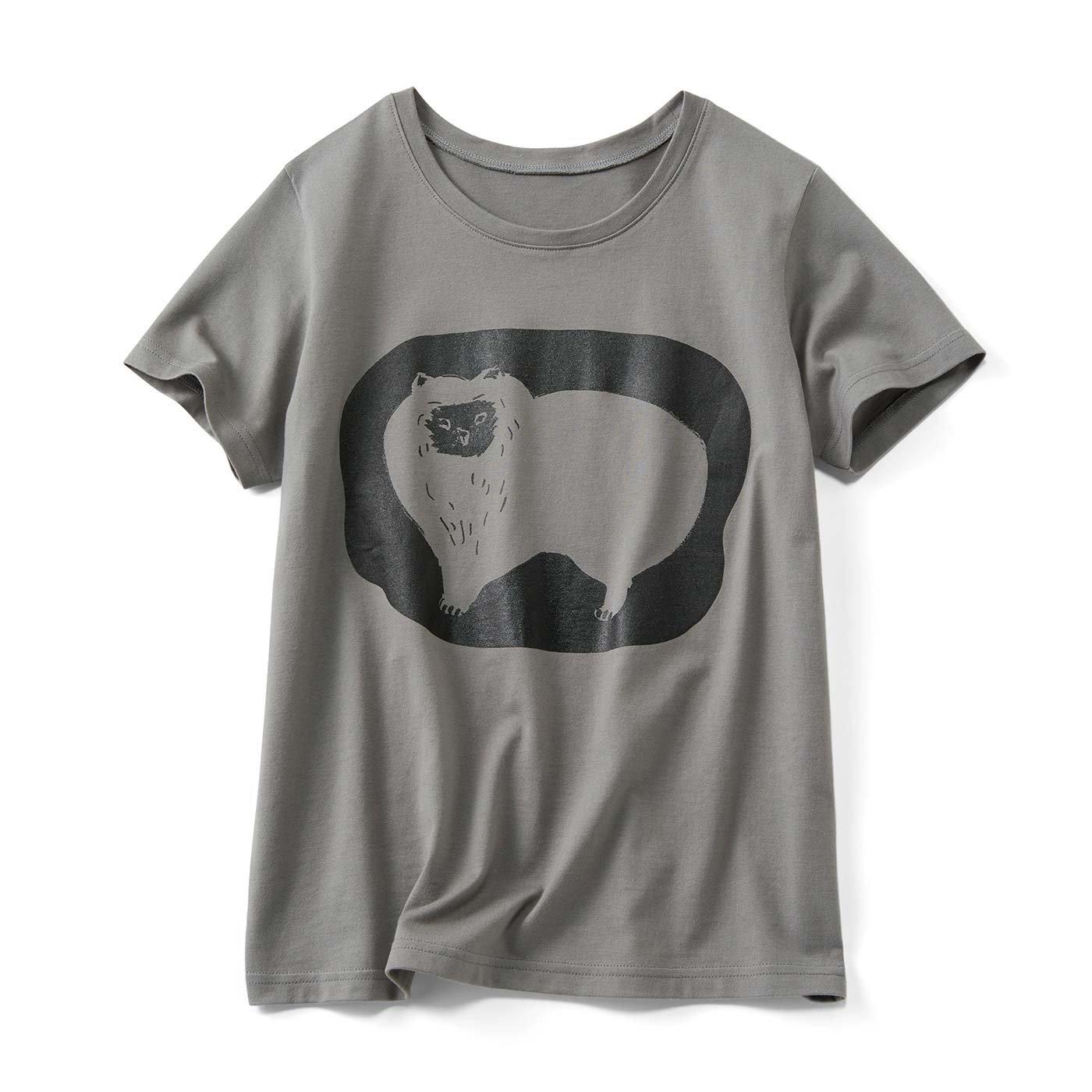 アニマルドローイングTシャツ〈タヌキみたいなネコ〉